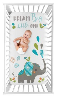 Mod Elephant Boy or Girl Fitted Crib Sheet Baby or Toddler Bed Nursery Photo Op by Sweet Jojo Designs - Gender Neutral Turquoise Blue, Green, and Grey Dream Big Little One