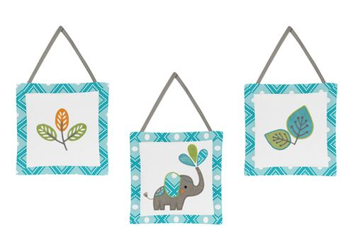 Mod Elephant Wall Hanging Accessories by Sweet Jojo Designs - Click to enlarge