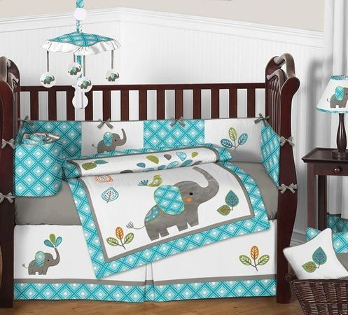Mod Elephant Baby Bedding - 9pc Crib Set by Sweet Jojo Designs - Click to enlarge