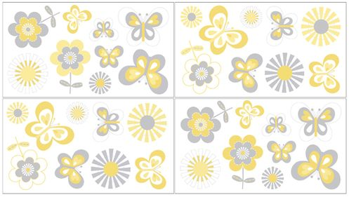 Mod Garden Baby, Childrens and Kids Wall Decal Stickers by Sweet Jojo Designs - Set of 4 Sheets - Click to enlarge