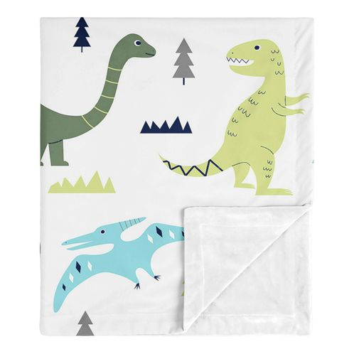 Modern Dino Mod Dinosaur Baby Boy Receiving Security Swaddle Blanket for Newborn or Toddler Nursery Car Seat Stroller Soft Minky by Sweet Jojo Designs - Blue, Green and Grey - Click to enlarge