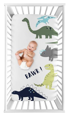 Mod Dino Boy Fitted Crib Sheet Baby or Toddler Bed Nursery Photo Op by Sweet Jojo Designs - Blue, Green and Grey Rawr Modern Dinosaur - Click to enlarge