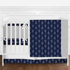 Modern Navy Blue, Grey and White Arrow Tribal Geometric Baby Boy Crib Bedding Set with Bumper by Sweet Jojo Designs - 9 pieces