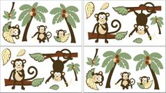 Monkey Peel and Stick Wall Decal Stickers Art Nursery Decor by Sweet Jojo Designs - Set of 4 Sheets