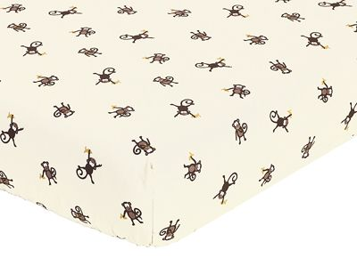 Monkey Fitted Crib Sheet for Baby/Toddler Bedding Sets - Monkey Print - Click to enlarge
