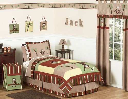 Monkey Kids Bedding - 4pc Boys Twin Set - Click to enlarge