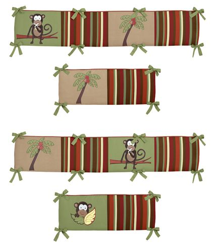 Monkey Time Collection Crib Bumper by Sweet Jojo Designs - Click to enlarge