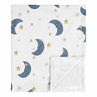 Moon and Star Baby Boy or Girl Blanket Receiving Security Swaddle for Newborn or Toddler Nursery Car Seat Stroller Soft Minky by Sweet Jojo Designs - Navy Blue and Gold Watercolor Celestial Sky