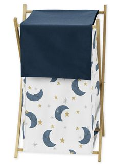 Moon and Star Baby Kid Clothes Laundry Hamper by Sweet Jojo Designs - Navy Blue and Gold Watercolor Celestial Sky