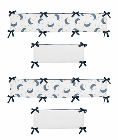 Moon and Star Boy or Girl Baby Nursery Crib Bumper Pad by Sweet Jojo Designs - Navy Blue and Gold Watercolor Celestial Sky