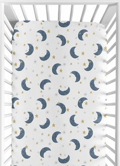 Moon and Star Boy or Girl Fitted Crib Sheet Baby or Toddler Bed Nursery by Sweet Jojo Designs - Navy Blue and Gold Watercolor Celestial Sky