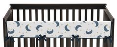 Moon and Star Boy or Girl Long Front Crib Rail Guard Baby Teething Cover Protector Wrap by Sweet Jojo Designs - Navy Blue and Gold Watercolor Celestial Sky
