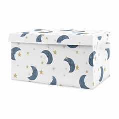 Moon and Star Boy or Girl Small Fabric Toy Bin Storage Box Chest For Baby Nursery or Kids Room by Sweet Jojo Designs - Navy Blue and Gold Watercolor Celestial Sky Gender Neutral Outer Space Galaxy