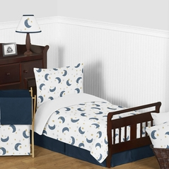 Moon and Star Boy or Girl Toddler Kid Bedding Set by Sweet Jojo Designs - Childrens 5 pieces Comforter, Sham and Sheets - Navy Blue and Gold Watercolor Celestial Sky Gender Neutral Outer Space Galaxy