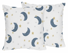 Moon and Star Decorative Accent Throw Pillows by Sweet Jojo Designs - Set of 2 - Navy Blue and Gold Watercolor Celestial Sky Gender Neutral Outer Space Galaxy