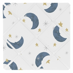 Moon and Star Fabric Memory Memo Photo Bulletin Board by Sweet Jojo Designs - Navy Blue and Gold Watercolor Celestial Sky Gender Neutral Outer Space Galaxy