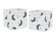 Moon and Star Foldable Fabric Storage Cube Bins Boxes Organizer Toys Kids Baby Childrens by Sweet Jojo Designs - Set of 2 - Navy Blue and Gold Watercolor Celestial Sky Gender Neutral Outer Space Galaxy