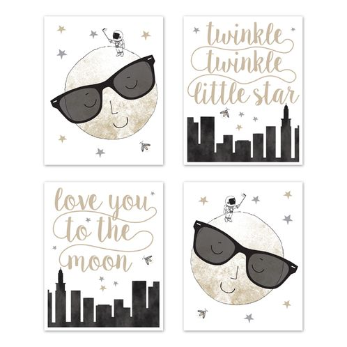 Moon and Star Wall Art Prints Room Decor for Baby, Nursery, and Kids by Sweet Jojo Designs - Set of 4 - Grey, Black and Gold Modern Celestial City Skyline Twinkle Twinkle Little Star - Click to enlarge