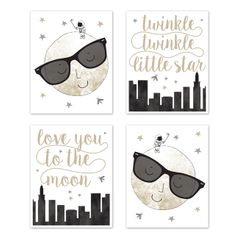 Moon and Star Wall Art Prints Room Decor for Baby, Nursery, and Kids by Sweet Jojo Designs - Set of 4 - Grey, Black and Gold Modern Celestial City Skyline Twinkle Twinkle Little Star