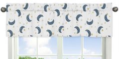 Moon and Star Window Treatment Valance by Sweet Jojo Designs - Navy Blue and Gold Watercolor Celestial Sky