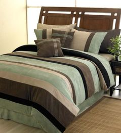 Moss Jacaranda Striped Microsuede 6pc Bed in a Bag