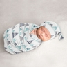 Mountains Baby Boy or Girl Cocoon and Beanie Hat 2pc Set Jersey Stretch Knit Sleeping Bag for Infant Newborn Nursery Sleep Wrap Sack by Sweet Jojo Designs - Navy Blue, Aqua and Grey Watercolor Aztec