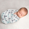 Mountains Baby Boy or Girl Swaddle Blanket Jersey Stretch Knit for Newborn or Infant Receiving Security by Sweet Jojo Designs - Navy Blue, Aqua and Grey Watercolor Aztec
