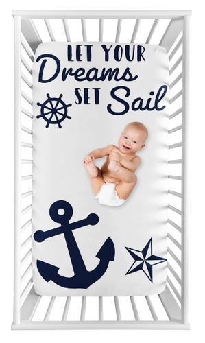 Nautical Anchor Boy or Girl Fitted Crib Sheet Baby or Toddler Bed Nursery Photo Op by Sweet Jojo Designs - Navy Blue and White Boat Ocean Sea - Click to enlarge