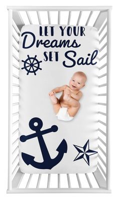 Nautical Anchor Boy or Girl Fitted Crib Sheet Baby or Toddler Bed Nursery Photo Op by Sweet Jojo Designs - Navy Blue and White Boat Ocean Sea