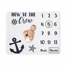 Nautical Anchor Boy or Girl Milestone Blanket Monthly Newborn First Year Growth Mat Baby Shower Memory Keepsake Gift Picture by Sweet Jojo Designs - Navy Blue and White Boat Crew Ocean Sea Sailing Gender Neutral New to the Crew