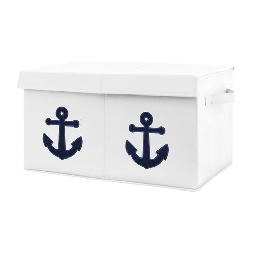 Nautical Anchor Boy or Girl Small Fabric Toy Bin Storage Box Chest For Baby Nursery or Kids Room by Sweet Jojo Designs - Navy Blue and White Ocean Sailboat Sea Marine Sailor Gender Neutral Anchors Away Collection - Click to enlarge