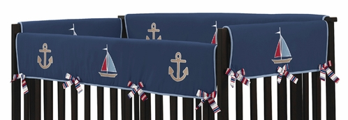 Nautical Nights Baby Crib Side Rail Guard Covers By Sweet Jojo Designs Set Of 2 Only 17 65