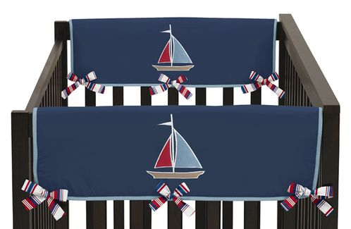 Nautical Nights Baby Crib Side Rail Guard Covers by Sweet Jojo Designs - Set of 2 - Click to enlarge