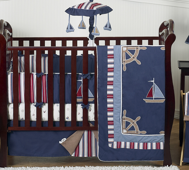 Nautical Nights Boys Sailboat Baby Bedding 9 Pc Crib Set Only 189 99