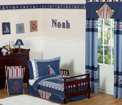 Nautical Nights Boys Sailboat Toddler Bedding - 5 pc Set - Click to enlarge