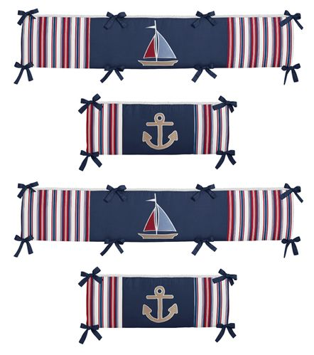 Nautical Nights Collection Crib Bumper by Sweet Jojo Designs - Click to enlarge