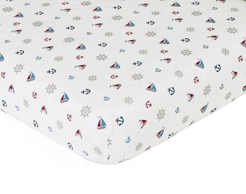Nautical Nights Fitted Crib Sheet Baby/Toddler Bedding - Mini Print - Click to enlarge