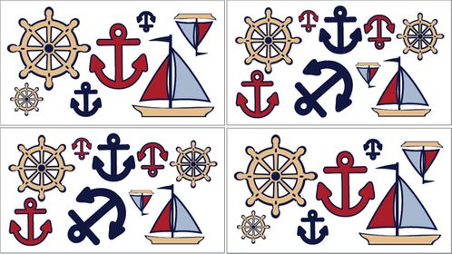 Nautical Nights Sailboat Baby and Kids Wall Decal Stickers - Set of 4 Sheets - Click to enlarge
