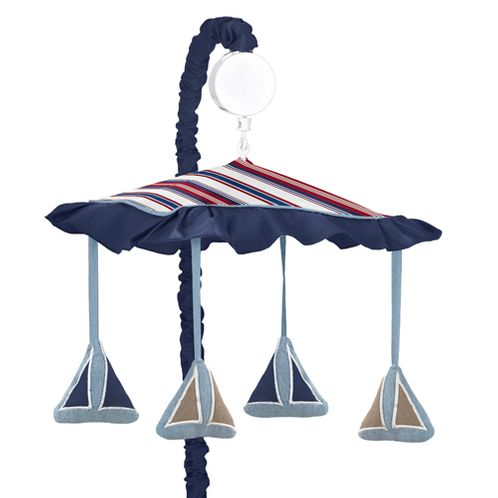 Nautical Nights Sailboat Musical Crib Mobile - Click to enlarge