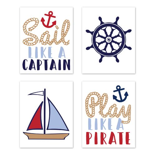 Nautical Wall Art Prints Room Decor for Baby, Nursery, and Kids by Sweet Jojo Designs - Set of 4 - Red White and Blue Anchor Boat Ocean Sea - Click to enlarge