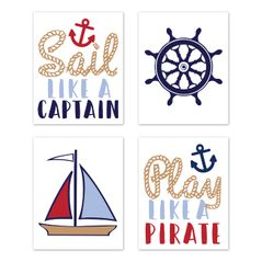 Nautical Wall Art Prints Room Decor for Baby, Nursery, and Kids by Sweet Jojo Designs - Set of 4 - Red White and Blue Anchor Boat Ocean Sea