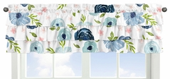 Navy and Pink Watercolor Floral Window Treatment Valance by Sweet Jojo Designs - Blue, Blush, Green and White Shabby Chic Rose Flower Tiered Ruffles Ruffled