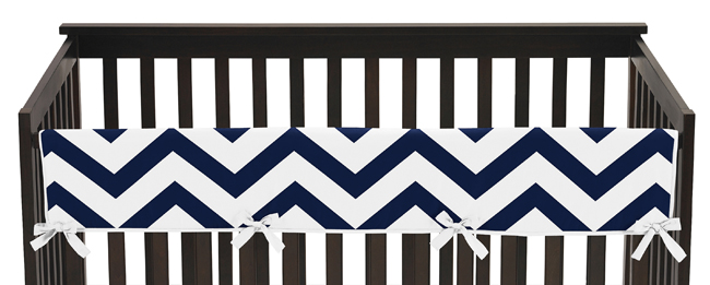 Navy And White Chevron Baby Crib Long Rail Guard Cover By Sweet Jojo Designs Only 32 99
