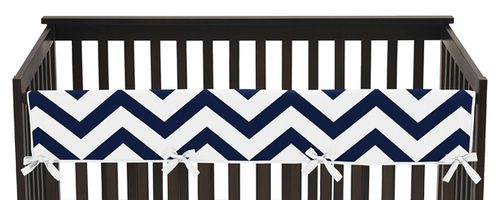 Navy and White Chevron Baby Crib Long Rail Guard Cover by Sweet Jojo Designs - Click to enlarge
