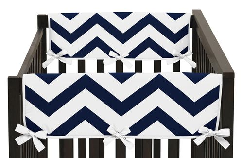 Navy and White Chevron Baby Crib Side Rail Guard Covers by Sweet Jojo Designs - Set of 2 - Click to enlarge
