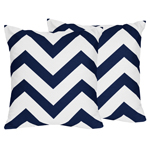 Navy and White Chevron Decorative Accent Throw Pillows - Set of 2