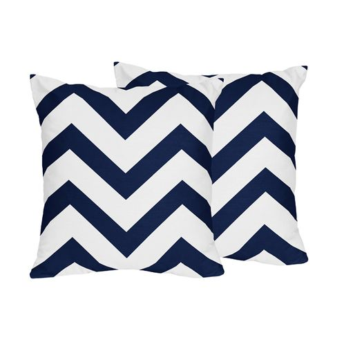 Navy and White Chevron Decorative Accent Throw Pillows - Set of 2 - Click to enlarge