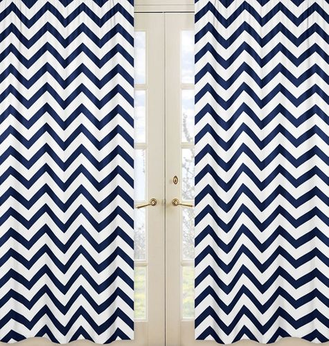 Navy and White Chevron Window Treatment Zig Zag Panels - Set of 2 - Click to enlarge