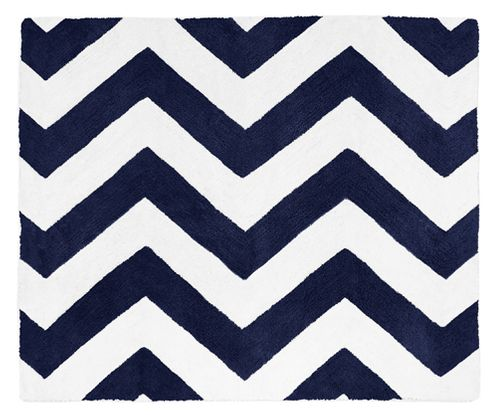 Navy and White Chevron Zig Zag Accent Floor Rug by Sweet Jojo Designs - Click to enlarge