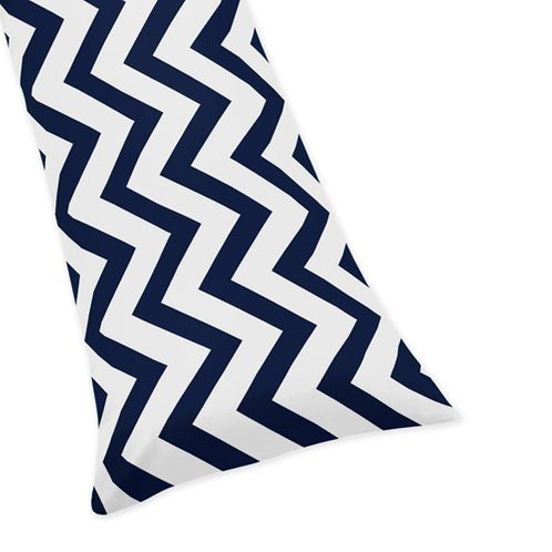 Navy and White Chevron Zig Zag Full Length Double Zippered Body Pillow Case Cover - Click to enlarge